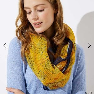 LOFT yellow floral infinity scarf